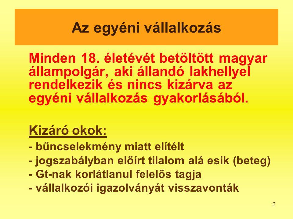 2 Minden 18. életévét betöltött magyar állampolgár, aki állandó lakhellyel rendelkezik és nincs kizárva az egyéni vállalkozás gyakorlásából. Kizáró ok