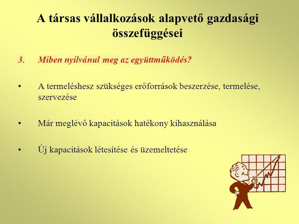 A társas vállalkozások alapvető gazdasági összefüggései 3.Miben nyilvánul meg az együttműködés? A termeléshesz szükséges erőforrások beszerzése, terme