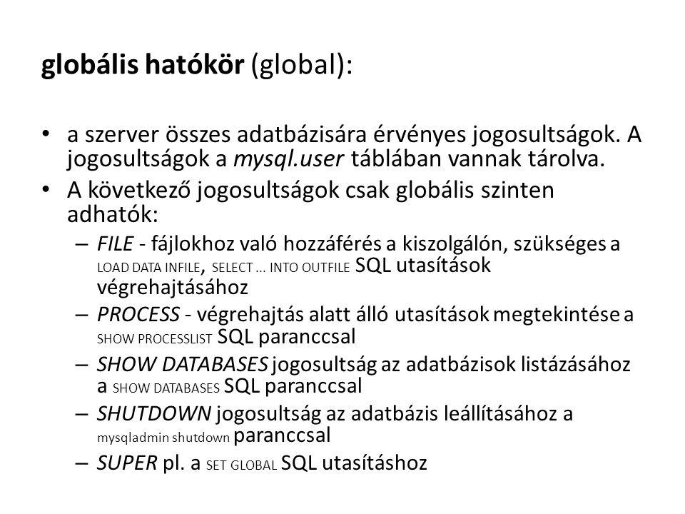globális hatókör (global): a szerver összes adatbázisára érvényes jogosultságok. A jogosultságok a mysql.user táblában vannak tárolva. A következő jog
