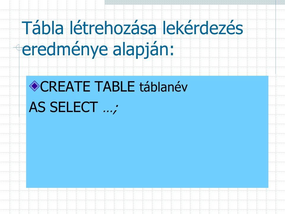 Tábla létrehozása lekérdezés eredménye alapján: CREATE TABLE táblanév AS SELECT …;