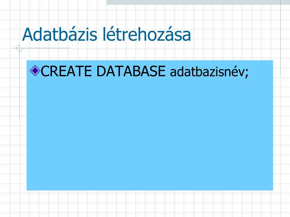 Adatbázis létrehozása CREATE DATABASE adatbazisnév;