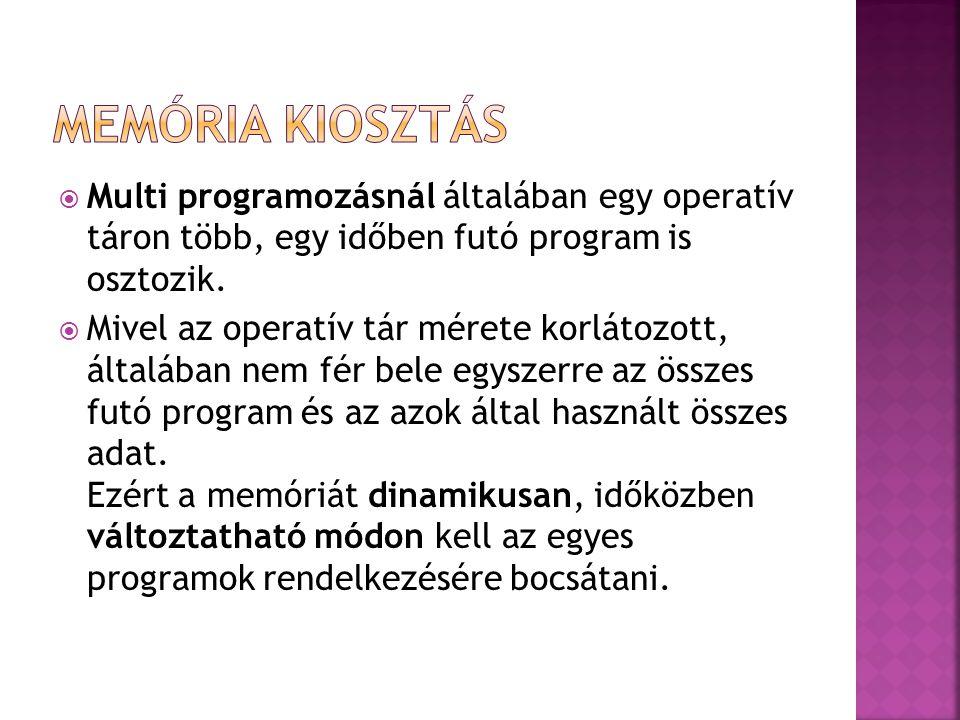  Multi programozásnál általában egy operatív táron több, egy időben futó program is osztozik.