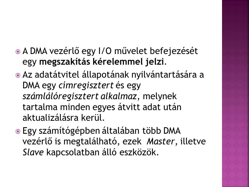  A DMA vezérlő egy I/O művelet befejezését egy megszakítás kérelemmel jelzi.