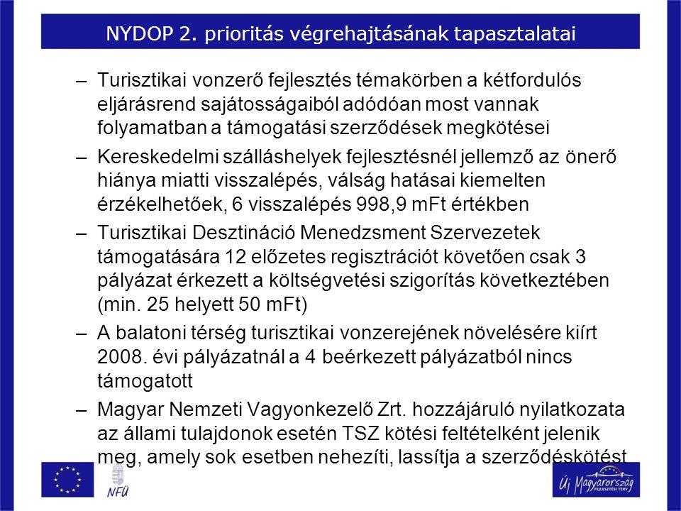 NYDOP 2. prioritás végrehajtásának tapasztalatai –Turisztikai vonzerő fejlesztés témakörben a kétfordulós eljárásrend sajátosságaiból adódóan most van