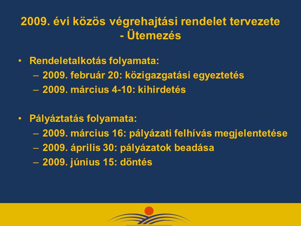 2009. évi közös végrehajtási rendelet tervezete - Ütemezés Rendeletalkotás folyamata: –2009. február 20: közigazgatási egyeztetés –2009. március 4-10: