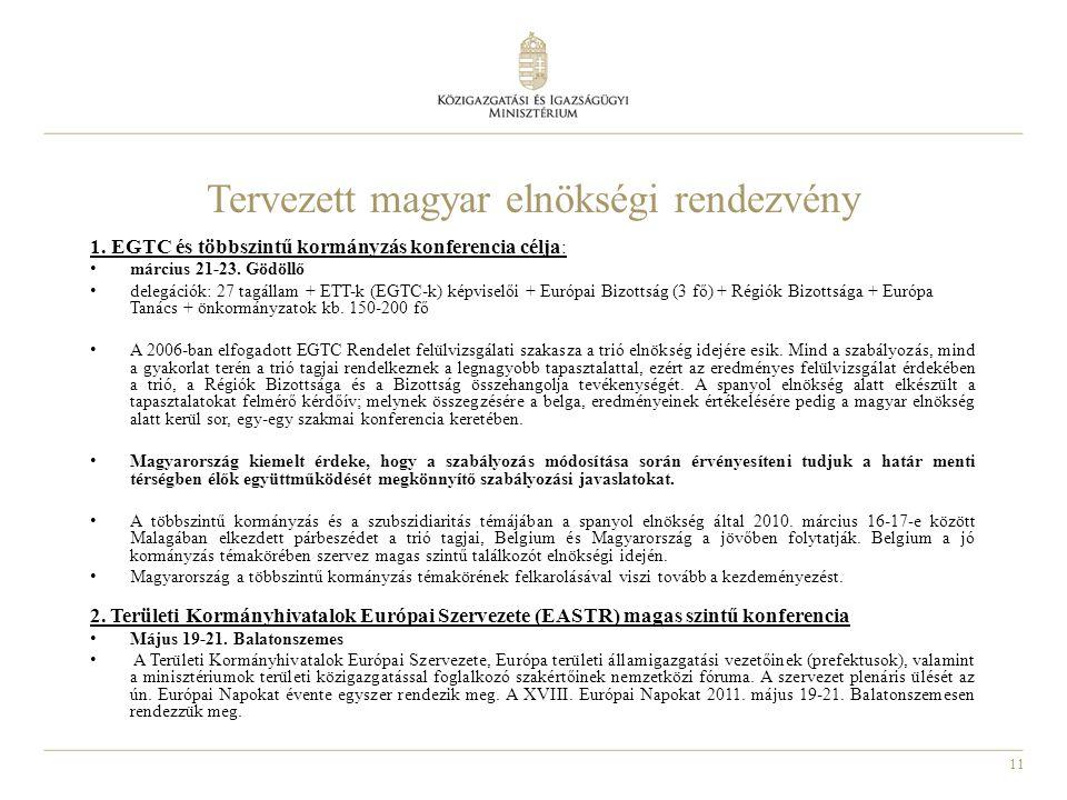 11 Tervezett magyar elnökségi rendezvény 1.