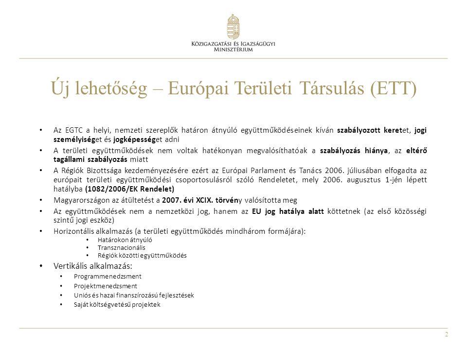 13 Siker: ISTER-GRANUM EGTC  Célja a saját intézmények működtetése: kórházak, mentőszolgálatok, iskolák, vállalkozások.