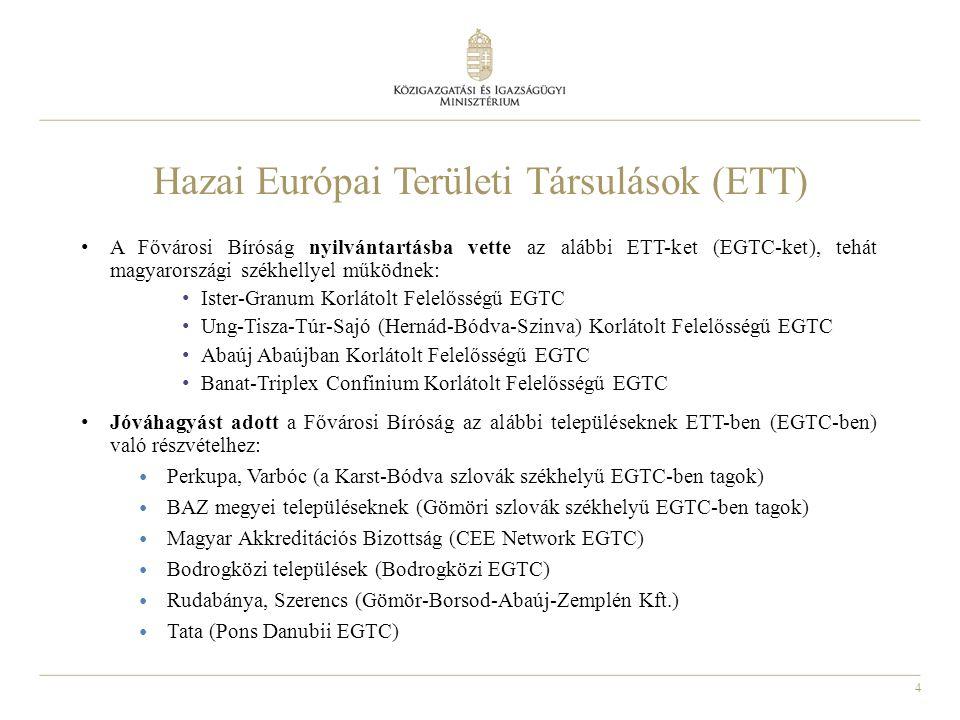 4 Hazai Európai Területi Társulások (ETT) A Fővárosi Bíróság nyilvántartásba vette az alábbi ETT-ket (EGTC-ket), tehát magyarországi székhellyel működnek: Ister-Granum Korlátolt Felelősségű EGTC Ung-Tisza-Túr-Sajó (Hernád-Bódva-Szinva) Korlátolt Felelősségű EGTC Abaúj Abaújban Korlátolt Felelősségű EGTC Banat-Triplex Confinium Korlátolt Felelősségű EGTC Jóváhagyást adott a Fővárosi Bíróság az alábbi településeknek ETT-ben (EGTC-ben) való részvételhez: Perkupa, Varbóc (a Karst-Bódva szlovák székhelyű EGTC-ben tagok) BAZ megyei településeknek (Gömöri szlovák székhelyű EGTC-ben tagok) Magyar Akkreditációs Bizottság (CEE Network EGTC) Bodrogközi települések (Bodrogközi EGTC) Rudabánya, Szerencs (Gömör-Borsod-Abaúj-Zemplén Kft.) Tata (Pons Danubii EGTC)