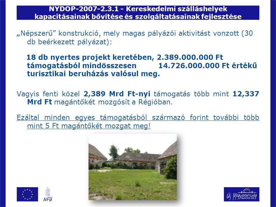 """NYDOP-2007-2.3.1 - Kereskedelmi szálláshelyek kapacitásainak bővítése és szolgáltatásainak fejlesztése """" Népszerű konstrukció, mely magas pályázói aktivitást vonzott (30 db beérkezett pályázat): 18 db nyertes projekt keretében, 2.389.000.000 Ft támogatásból mindösszesen 14.726.000.000 Ft értékű turisztikai beruházás valósul meg."""