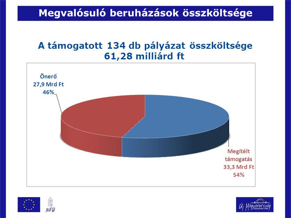 A támogatott 134 db pályázat összköltsége 61,28 milliárd ft Megvalósuló beruházások összköltsége