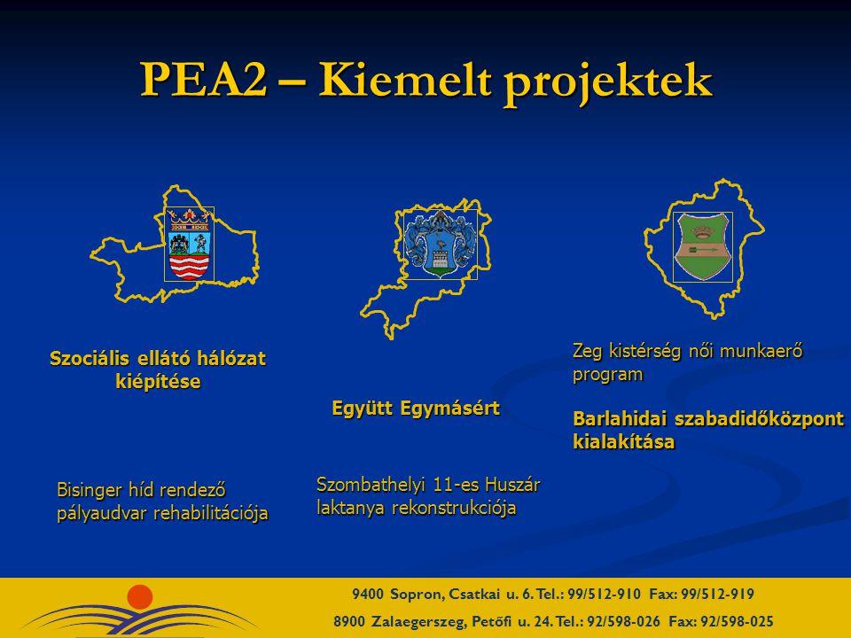 PEA2 – Kiemelt projektek Szociális ellátó hálózat kiépítése Bisinger híd rendező pályaudvar rehabilitációja Szombathelyi 11-es Huszár laktanya rekonstrukciója Zeg kistérség női munkaerő program Barlahidai szabadidőközpont kialakítása Együtt Egymásért