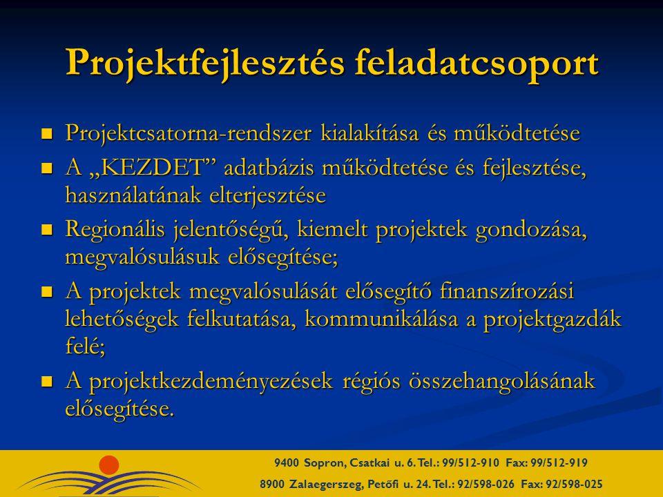 """Projektfejlesztés feladatcsoport Projektcsatorna-rendszer kialakítása és működtetése Projektcsatorna-rendszer kialakítása és működtetése A """"KEZDET adatbázis működtetése és fejlesztése, használatának elterjesztése A """"KEZDET adatbázis működtetése és fejlesztése, használatának elterjesztése Regionális jelentőségű, kiemelt projektek gondozása, megvalósulásuk elősegítése; Regionális jelentőségű, kiemelt projektek gondozása, megvalósulásuk elősegítése; A projektek megvalósulását elősegítő finanszírozási lehetőségek felkutatása, kommunikálása a projektgazdák felé; A projektek megvalósulását elősegítő finanszírozási lehetőségek felkutatása, kommunikálása a projektgazdák felé; A projektkezdeményezések régiós összehangolásának elősegítése."""
