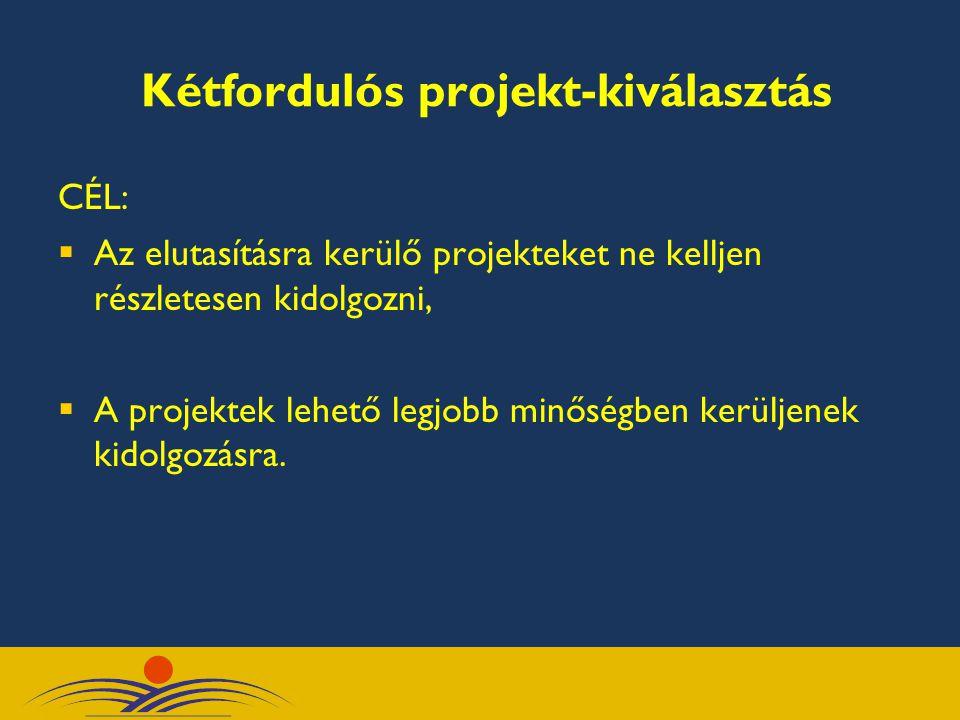 CÉL:  Az elutasításra kerülő projekteket ne kelljen részletesen kidolgozni,  A projektek lehető legjobb minőségben kerüljenek kidolgozásra. Kétfordu