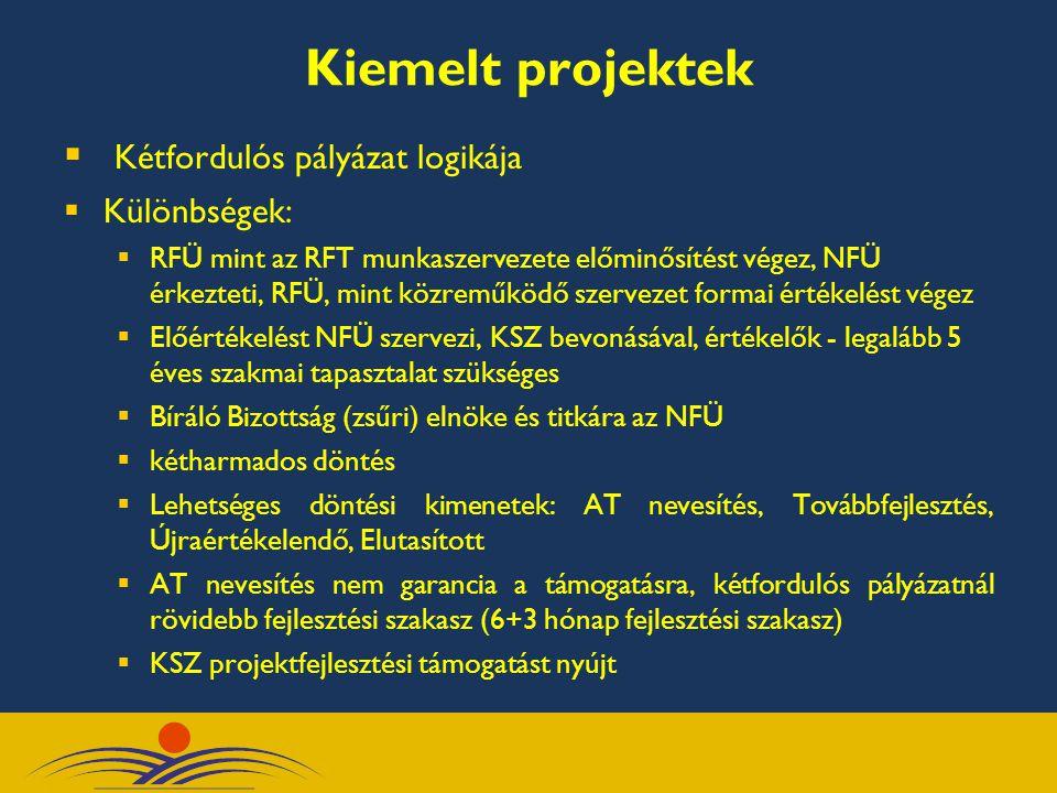 Kiemelt projektek  Kétfordulós pályázat logikája  Különbségek:  RFÜ mint az RFT munkaszervezete előminősítést végez, NFÜ érkezteti, RFÜ, mint közre