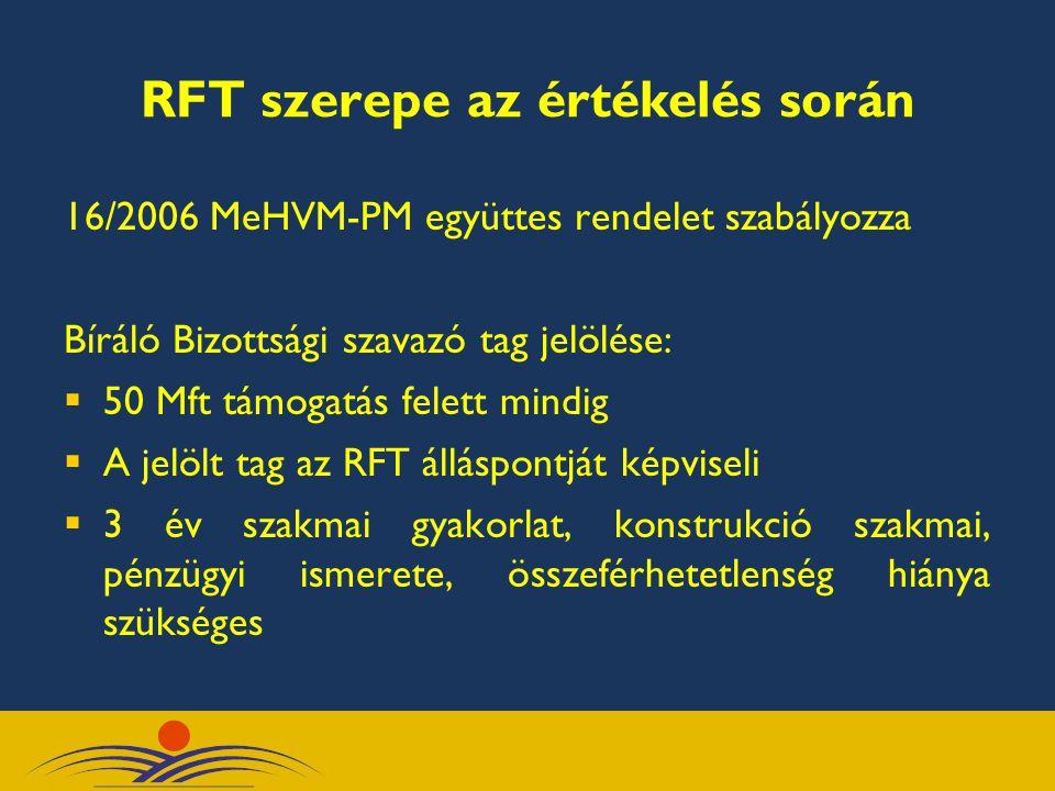 RFT szerepe az értékelés során 16/2006 MeHVM-PM együttes rendelet szabályozza Bíráló Bizottsági szavazó tag jelölése:  50 Mft támogatás felett mindig