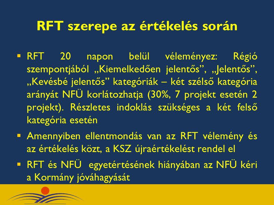 """RFT szerepe az értékelés során  RFT 20 napon belül véleményez: Régió szempontjából """"Kiemelkedően jelentős"""", """"Jelentős"""", """"Kevésbé jelentős"""" kategóriák"""