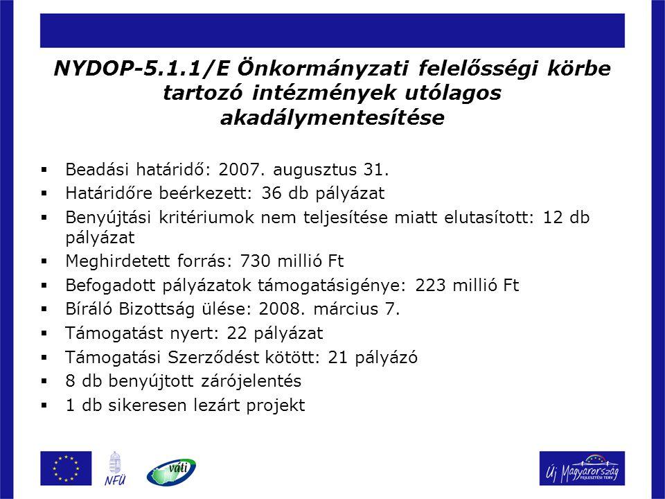 NYDOP-5.1.1/E Önkormányzati felelősségi körbe tartozó intézmények utólagos akadálymentesítése  Beadási határidő: 2007. augusztus 31.  Határidőre beé