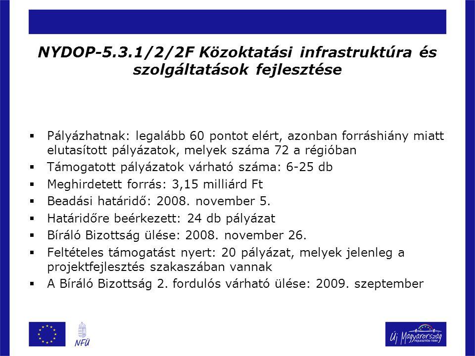 NYDOP-5.3.1/2/2F Közoktatási infrastruktúra és szolgáltatások fejlesztése  Pályázhatnak: legalább 60 pontot elért, azonban forráshiány miatt elutasít