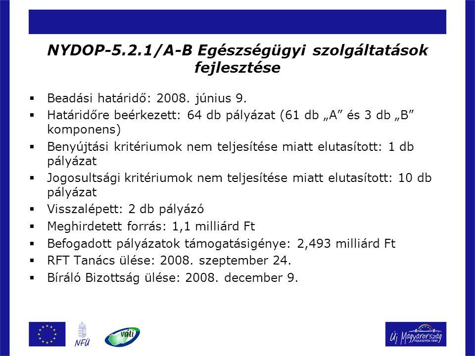 """NYDOP-5.2.1/A-B Egészségügyi szolgáltatások fejlesztése  Beadási határidő: 2008. június 9.  Határidőre beérkezett: 64 db pályázat (61 db """"A"""" és 3 db"""