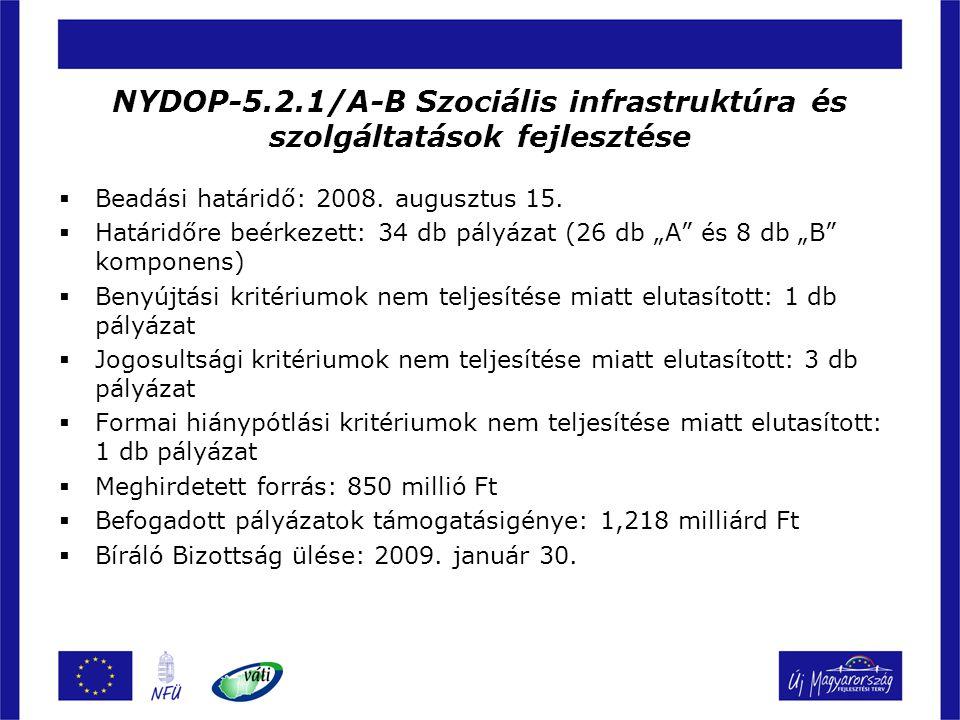 NYDOP-5.2.1/A-B Szociális infrastruktúra és szolgáltatások fejlesztése  Beadási határidő: 2008. augusztus 15.  Határidőre beérkezett: 34 db pályázat