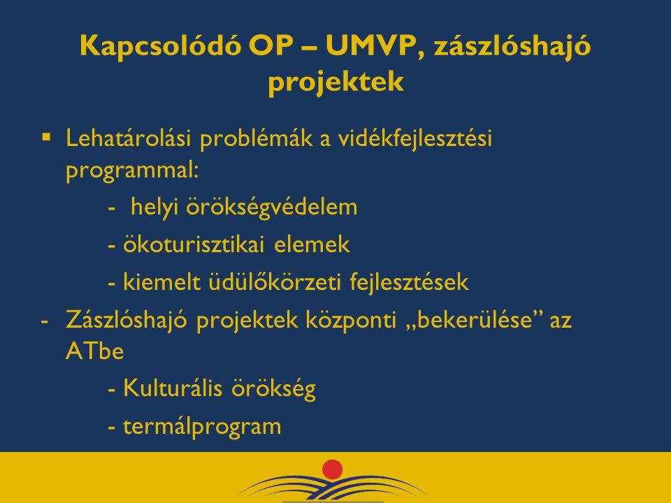"""Kapcsolódó OP – UMVP, zászlóshajó projektek  Lehatárolási problémák a vidékfejlesztési programmal: - helyi örökségvédelem - ökoturisztikai elemek - kiemelt üdülőkörzeti fejlesztések -Zászlóshajó projektek központi """"bekerülése az ATbe - Kulturális örökség - termálprogram"""