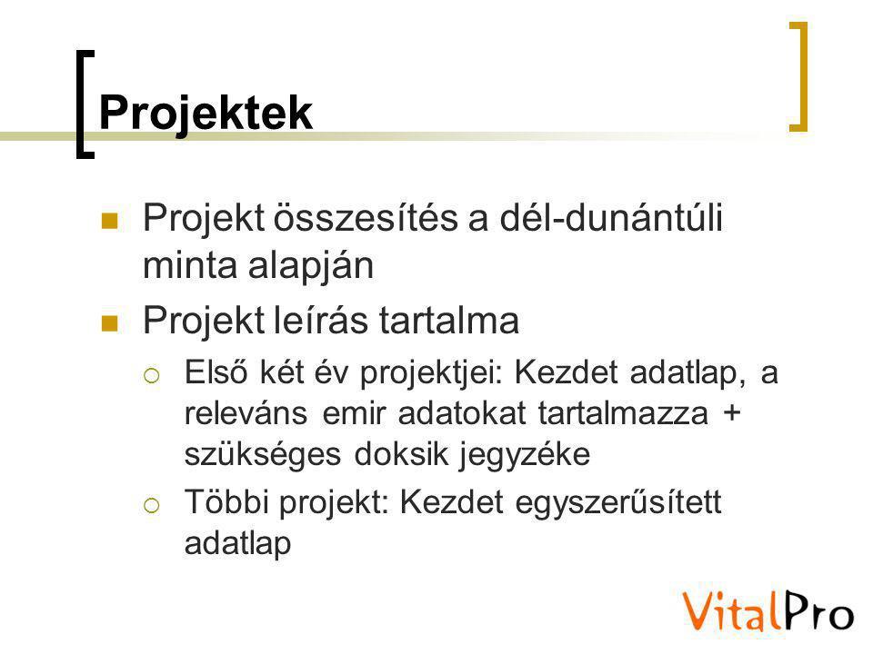 Projektek Projekt összesítés a dél-dunántúli minta alapján Projekt leírás tartalma  Első két év projektjei: Kezdet adatlap, a releváns emir adatokat