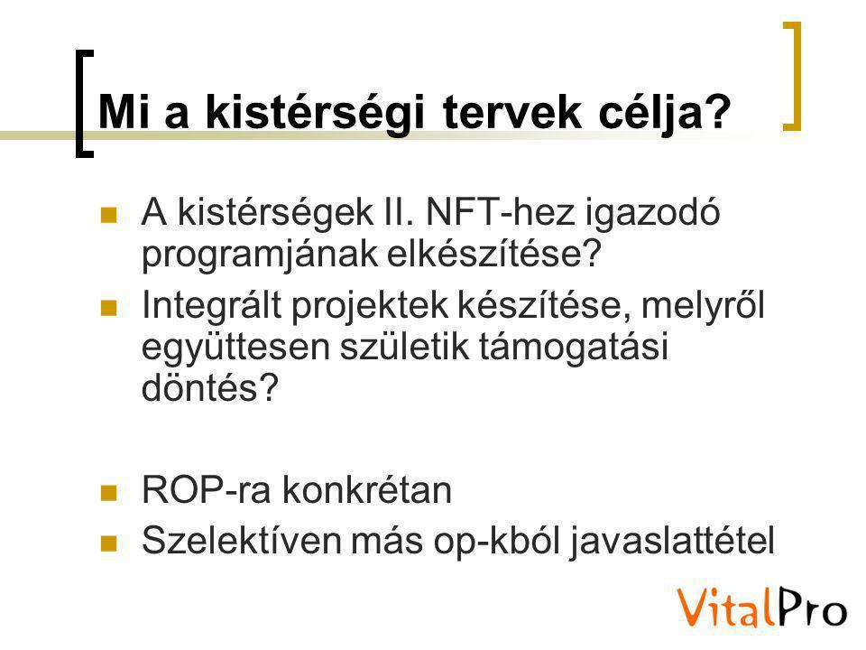 Mi a kistérségi tervek célja? A kistérségek II. NFT-hez igazodó programjának elkészítése? Integrált projektek készítése, melyről együttesen születik t