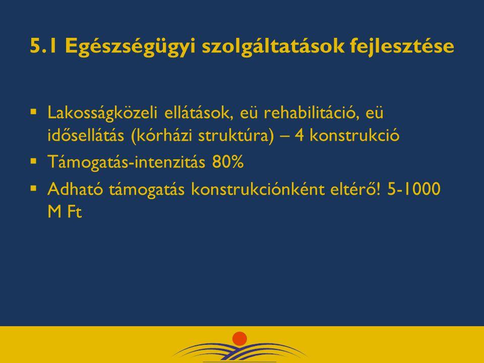 5.1 Egészségügyi szolgáltatások fejlesztése  Lakosságközeli ellátások, eü rehabilitáció, eü idősellátás (kórházi struktúra) – 4 konstrukció  Támogat