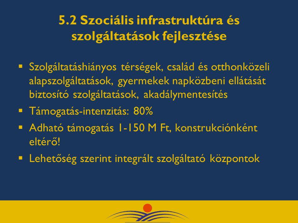 5.2 Szociális infrastruktúra és szolgáltatások fejlesztése  Szolgáltatáshiányos térségek, család és otthonközeli alapszolgáltatások, gyermekek napköz