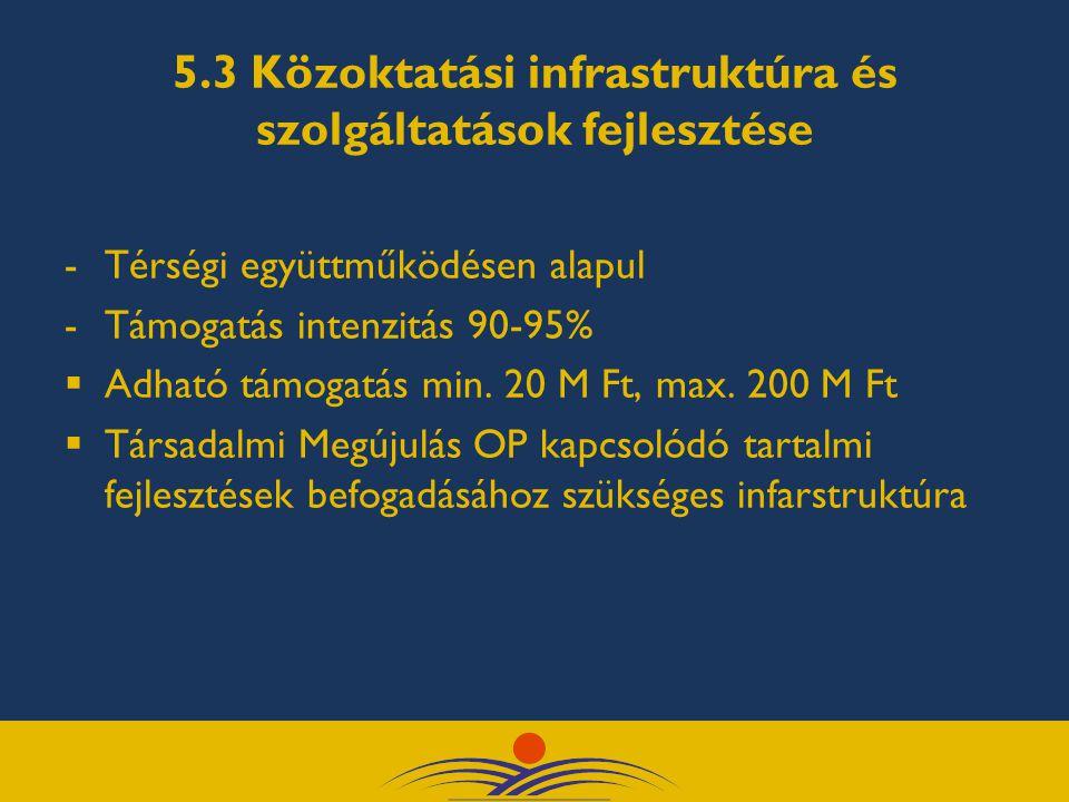 5.3 Közoktatási infrastruktúra és szolgáltatások fejlesztése -Térségi együttműködésen alapul -Támogatás intenzitás 90-95%  Adható támogatás min. 20 M