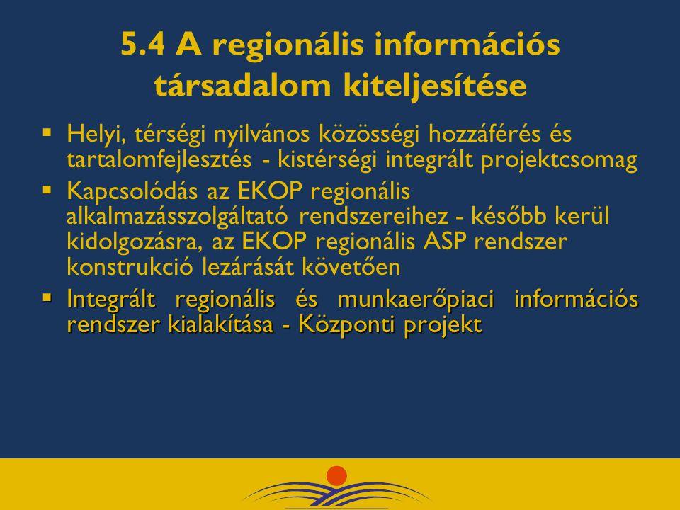 5.4 A regionális információs társadalom kiteljesítése  Helyi, térségi nyilvános közösségi hozzáférés és tartalomfejlesztés - kistérségi integrált pro