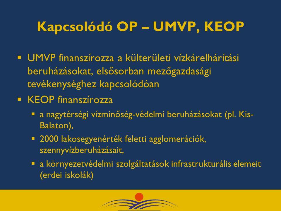 Kapcsolódó OP – UMVP, KEOP  UMVP finanszírozza a külterületi vízkárelhárítási beruházásokat, elsősorban mezőgazdasági tevékenységhez kapcsolódóan  KEOP finanszírozza  a nagytérségi vízminőség-védelmi beruházásokat (pl.