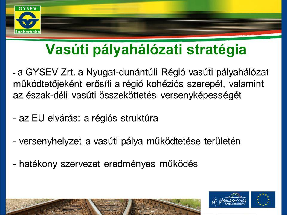 Vasúti pályahálózati stratégia - a GYSEV Zrt. a Nyugat-dunántúli Régió vasúti pályahálózat működtetőjeként erősíti a régió kohéziós szerepét, valamint