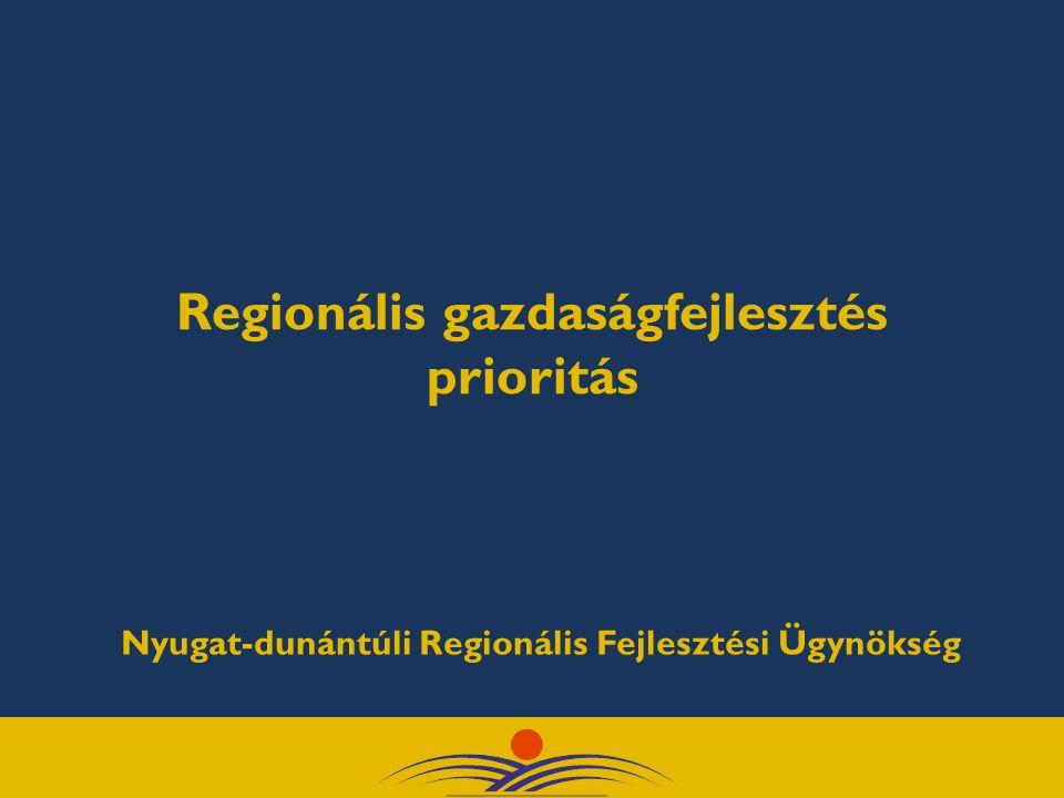 Regionális gazdaságfejlesztés prioritás Nyugat-dunántúli Regionális Fejlesztési Ügynökség