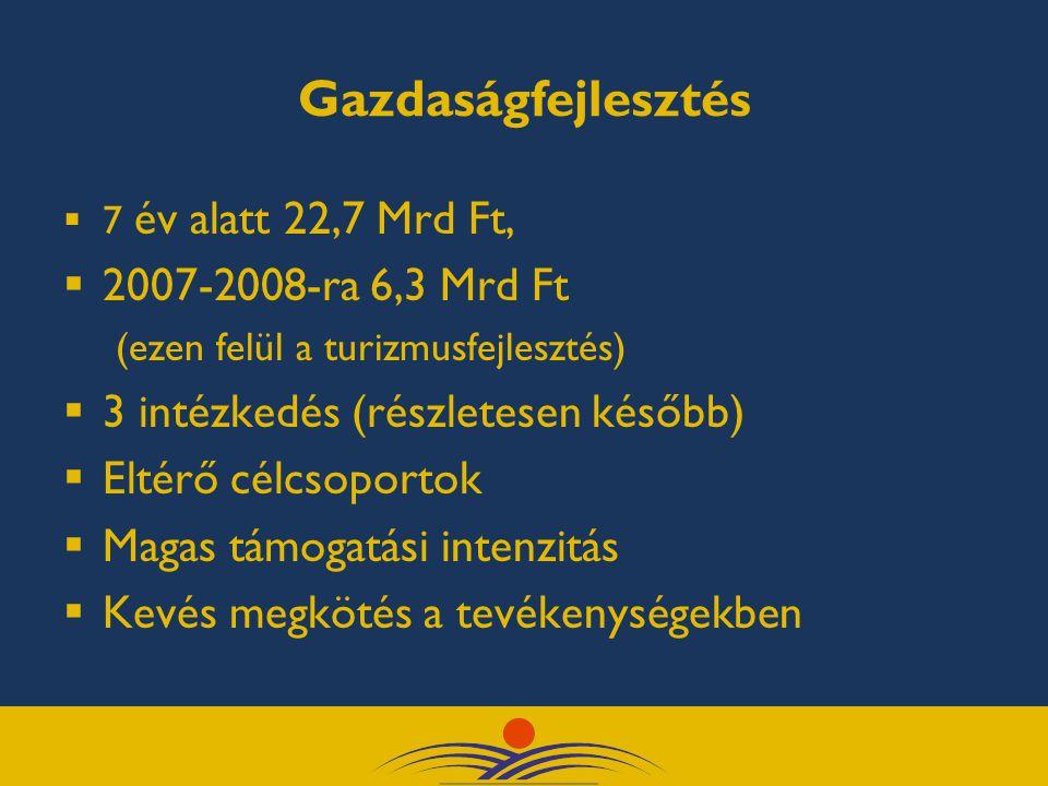 Gazdaságfejlesztés  7 év alatt 22,7 Mrd Ft,  2007-2008-ra 6,3 Mrd Ft (ezen felül a turizmusfejlesztés)  3 intézkedés (részletesen később)  Eltérő célcsoportok  Magas támogatási intenzitás  Kevés megkötés a tevékenységekben