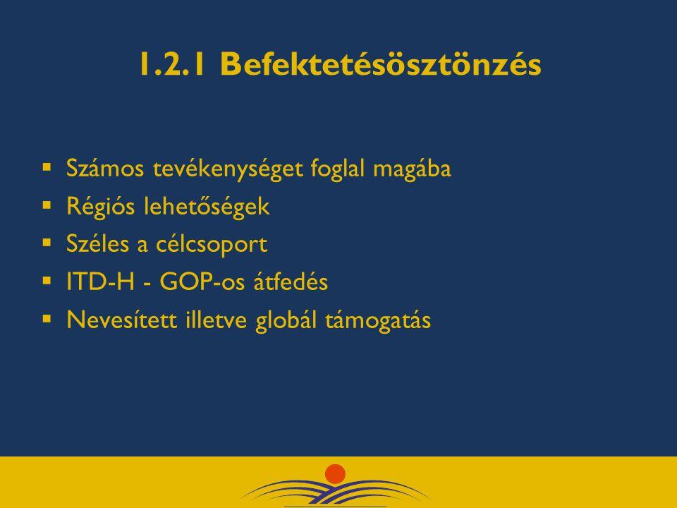 1.2.1 Befektetésösztönzés  Számos tevékenységet foglal magába  Régiós lehetőségek  Széles a célcsoport  ITD-H - GOP-os átfedés  Nevesített illetve globál támogatás