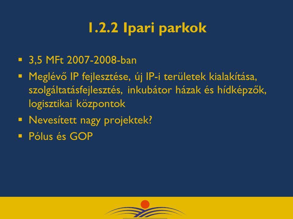 1.2.2 Ipari parkok  3,5 MFt 2007-2008-ban  Meglévő IP fejlesztése, új IP-i területek kialakítása, szolgáltatásfejlesztés, inkubátor házak és hídképzők, logisztikai központok  Nevesített nagy projektek.