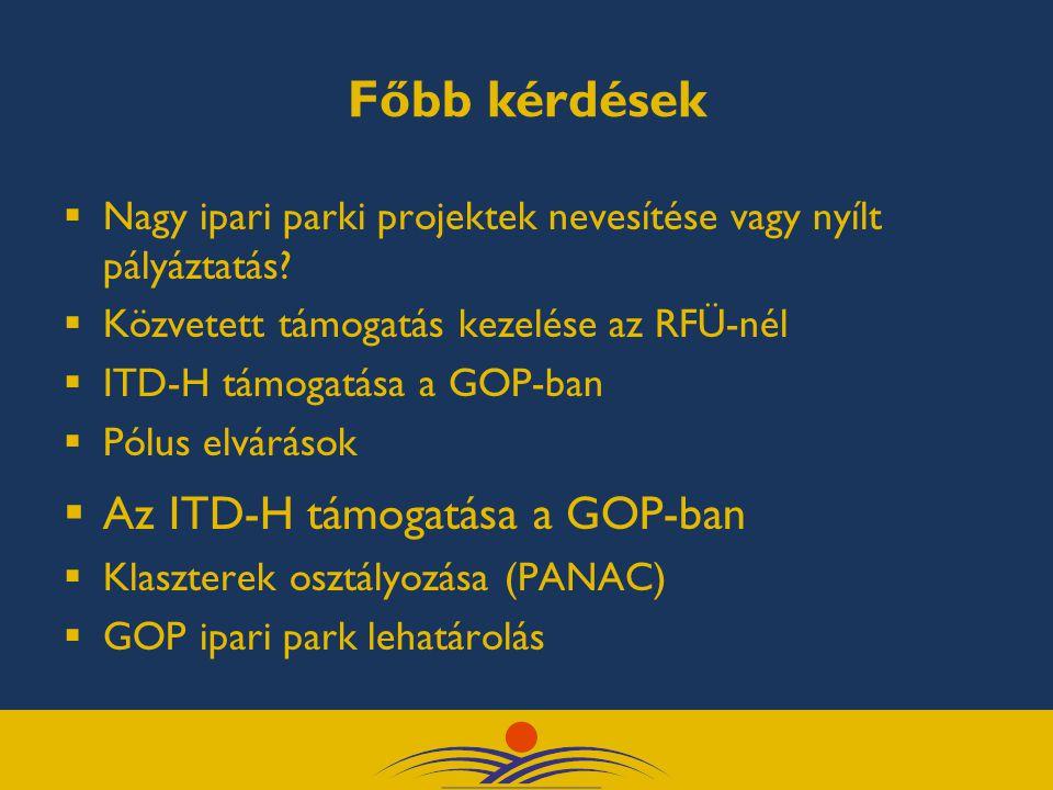 Főbb kérdések  Nagy ipari parki projektek nevesítése vagy nyílt pályáztatás.