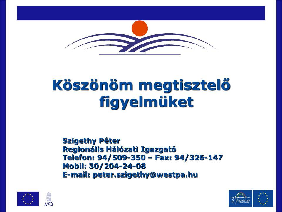 Köszönöm megtisztelő figyelmüket Szigethy Péter Regionális Hálózati Igazgató Telefon: 94/509-350 – Fax: 94/326-147 Mobil: 30/204-24-08 E-mail: peter.szigethy@westpa.hu