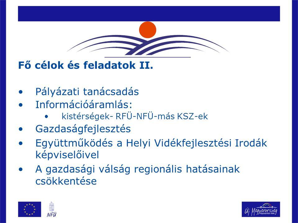 2009-ben elvégzett feladatok RFÜ kérésére végzett feladatok Pályázói kedv előre jelzése Inputok a tervezéshez Partnerkeresés pályázatokhoz Országos feladatok Válságkezelés (próbavásárlások, roadshow-k szervezése) Projektek nyomon követése (PMR, TÁMOP, iskolaprojektek) Folyamatos adatgyűjtés