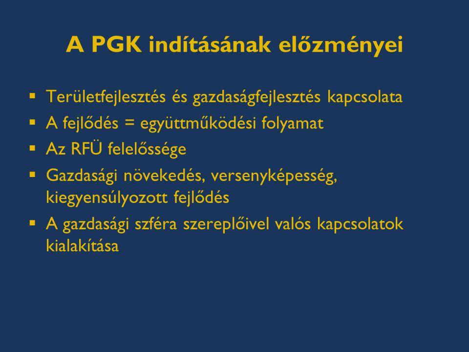 A PGK indításának előzményei  Területfejlesztés és gazdaságfejlesztés kapcsolata  A fejlődés = együttműködési folyamat  Az RFÜ felelőssége  Gazdasági növekedés, versenyképesség, kiegyensúlyozott fejlődés  A gazdasági szféra szereplőivel valós kapcsolatok kialakítása