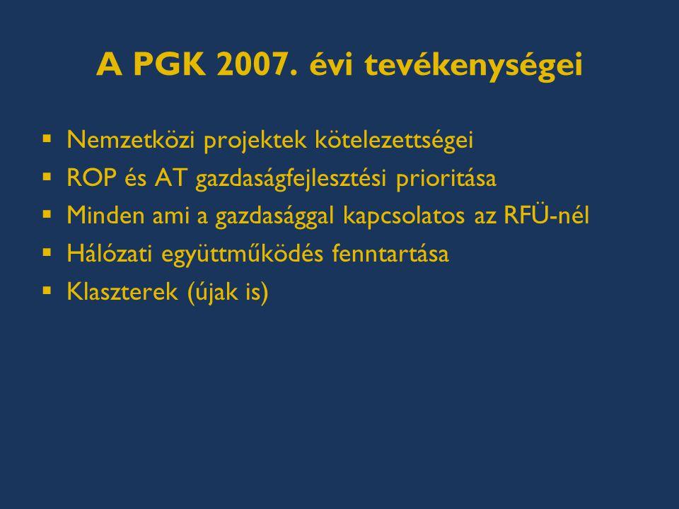 PGK a jövőben  Változó RFÜ környezet, kapacitások.