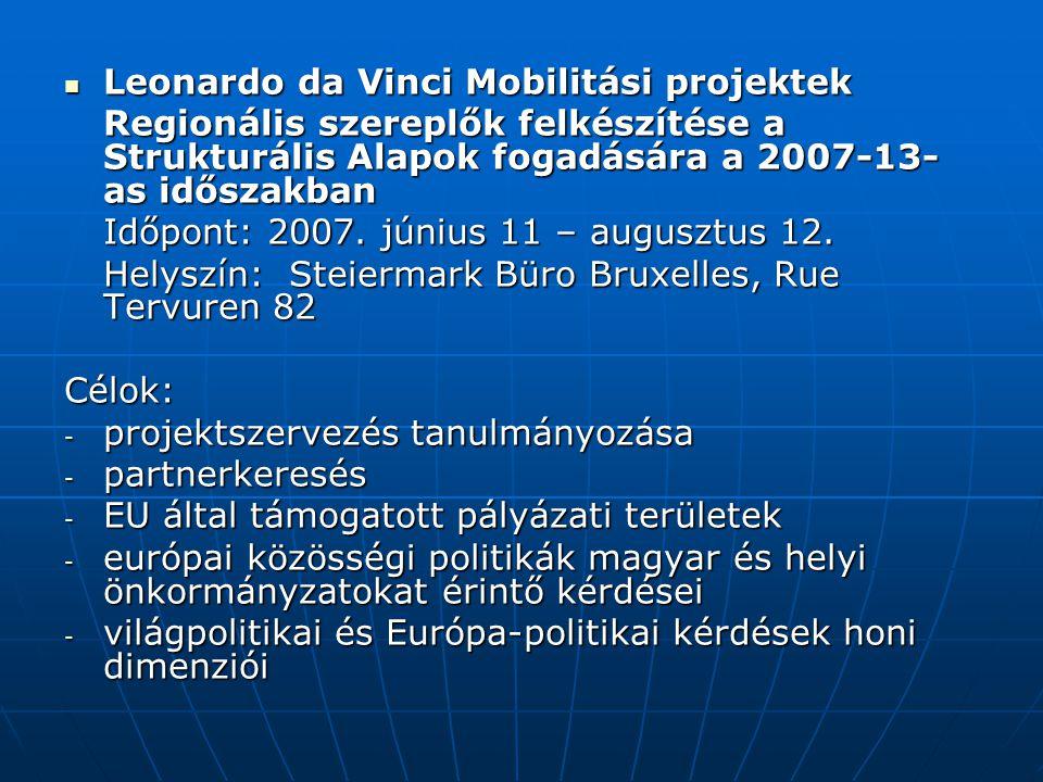 Leonardo da Vinci Mobilitási projektek Leonardo da Vinci Mobilitási projektek Regionális szereplők felkészítése a Strukturális Alapok fogadására a 2007-13- as időszakban Időpont: 2007.