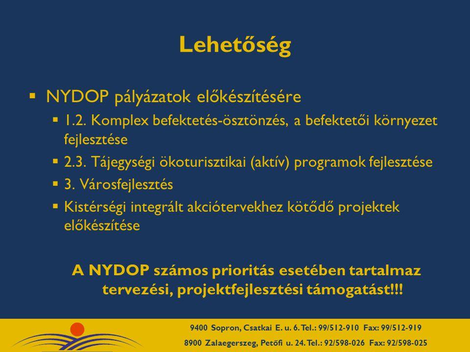Lehetőség  NYDOP pályázatok előkészítésére  1.2.