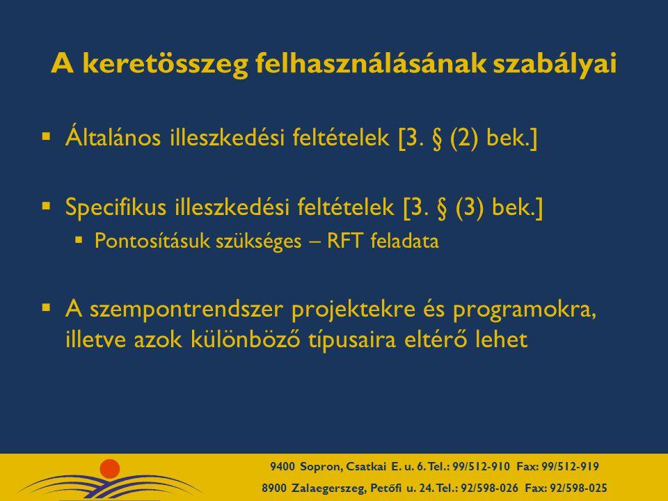 A keretösszeg felhasználásának szabályai  Pályázók lehetnek  helyi önkormányzatok  önkormányzati társulások (1997.
