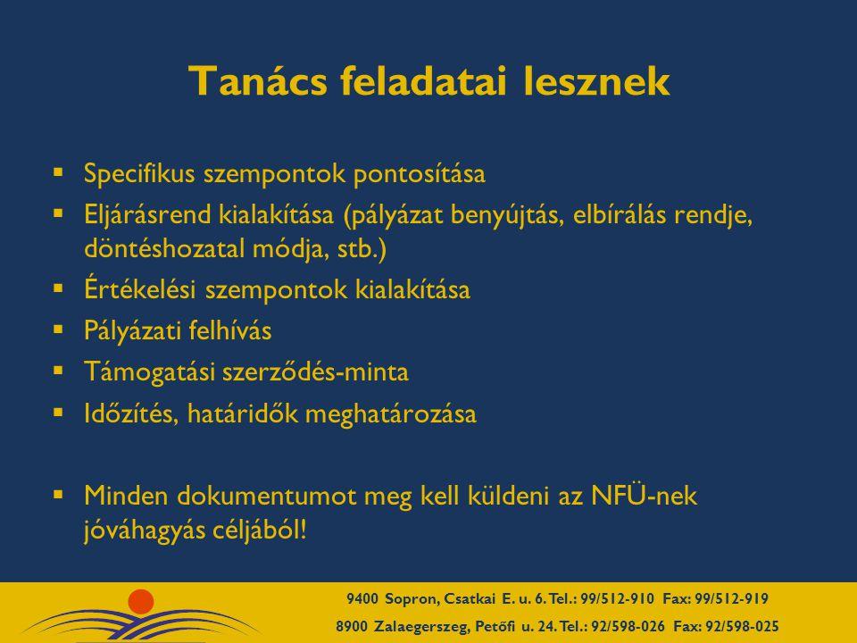 Tanács feladatai lesznek  Specifikus szempontok pontosítása  Eljárásrend kialakítása (pályázat benyújtás, elbírálás rendje, döntéshozatal módja, stb.)  Értékelési szempontok kialakítása  Pályázati felhívás  Támogatási szerződés-minta  Időzítés, határidők meghatározása  Minden dokumentumot meg kell küldeni az NFÜ-nek jóváhagyás céljából!