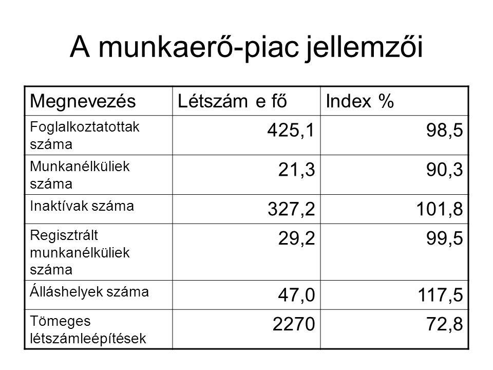 A munkaerő-piac jellemzői MegnevezésLétszám e főIndex % Foglalkoztatottak száma 425,198,5 Munkanélküliek száma 21,390,3 Inaktívak száma 327,2101,8 Regisztrált munkanélküliek száma 29,299,5 Álláshelyek száma 47,0117,5 Tömeges létszámleépítések 227072,8