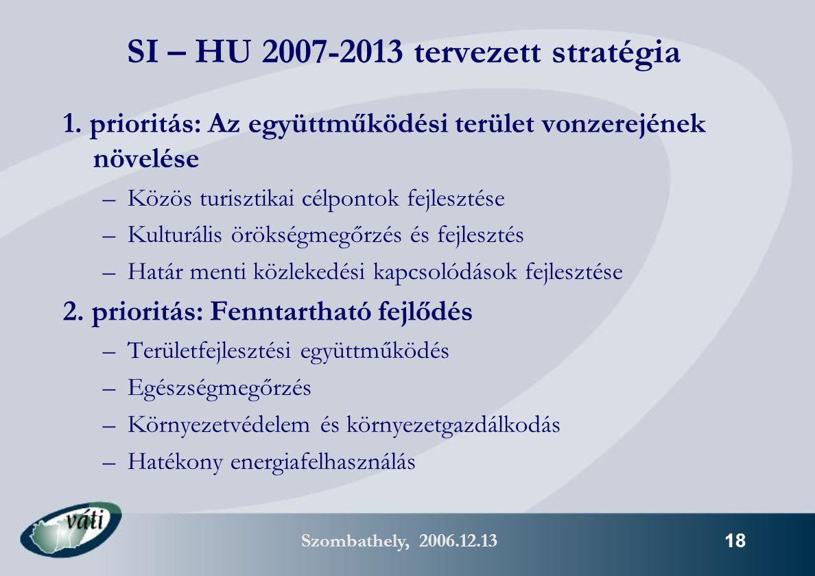 Szombathely, 2006.12.13 18 SI – HU 2007-2013 tervezett stratégia 1.