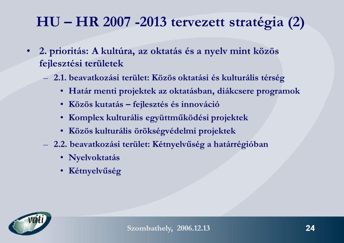 Szombathely, 2006.12.13 24 HU – HR 2007 -2013 tervezett stratégia (2) 2.
