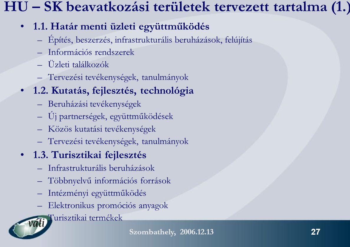Szombathely, 2006.12.13 27 HU – SK beavatkozási területek tervezett tartalma (1.) 1.1.
